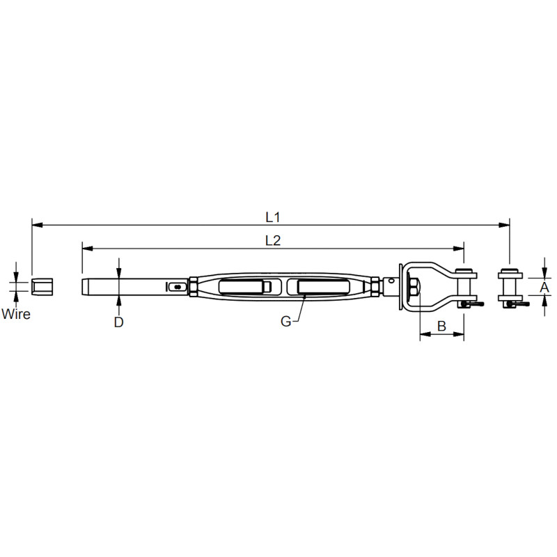 Photo of Open Body Tension Fork & Swage Rigging Screw