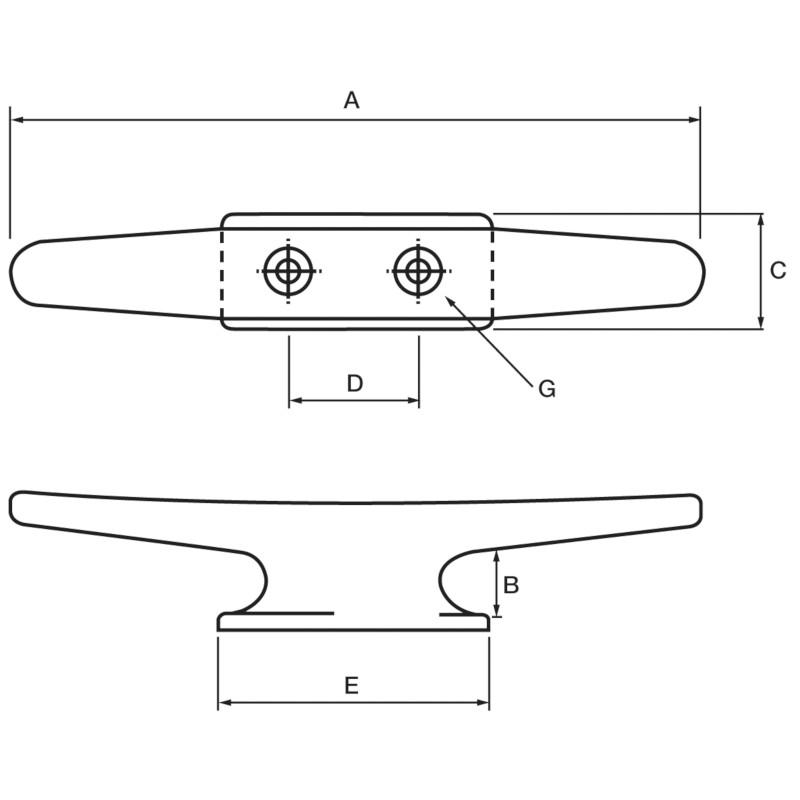 Photo of Aluminium Deck/Mast 2 Hole Cleat